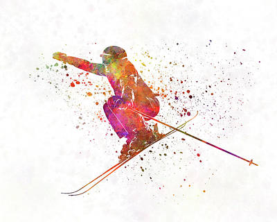 Woman Skier Skiing Jumping 03 In Watercolor Poster by Pablo Romero