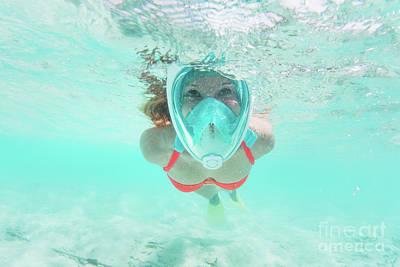 Woman Snorkeling Underwater In Indian Ocean, Maldives Poster by Michal Bednarek