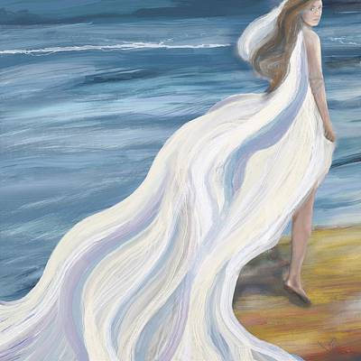 Woman Strolling On The Beach Poster