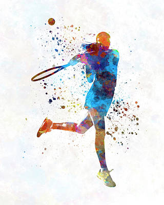 Woman Tennis Player 03 In Watercolor Poster by Pablo Romero
