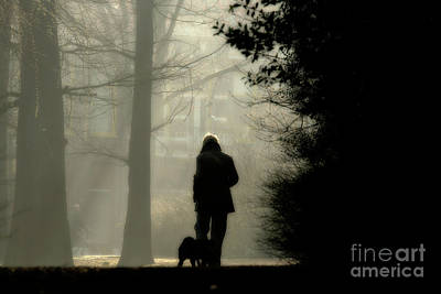 Poster featuring the photograph Woman Walking Dog by Patricia Hofmeester
