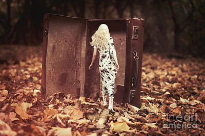 Woman Walking Into Suitcase Poster by Amanda Elwell