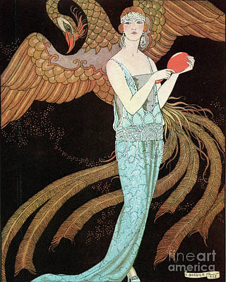 Woman Wearing A Blue Dress With A Phoenix Poster