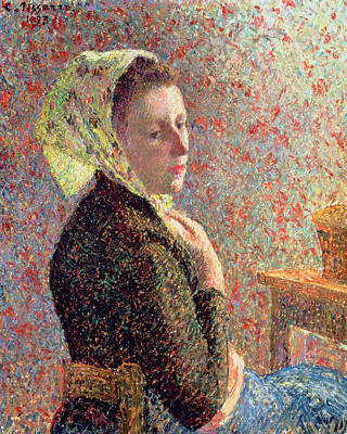 Woman Wearing A Green Headscarf Poster by Camille Pissarro
