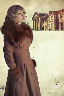 Woman Wearing Fur Trimmed Coat Poster by Amanda Elwell