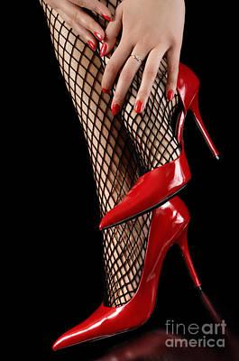 Woman Wearing Red Sexy High Heels Poster by Oleksiy Maksymenko