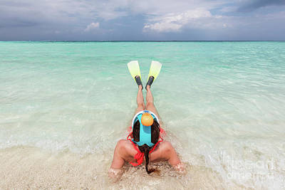 Woman Wearing Snorkeling Mask And Fins Ready To Snorkel In The Ocean, Maldives. Poster by Michal Bednarek