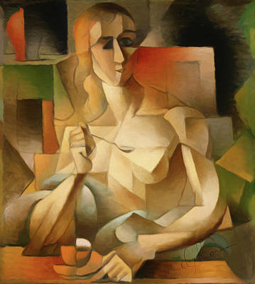 Woman With A Spoon After Metzinger Poster by Georgiana Romanovna