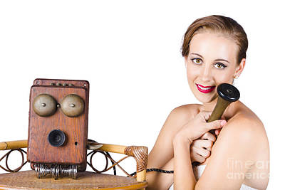 Woman With Antique Telephone Poster