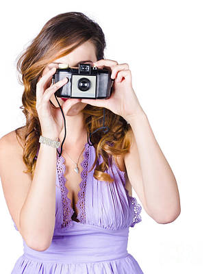 Woman With Camera On White Background Poster by Jorgo Photography - Wall Art Gallery