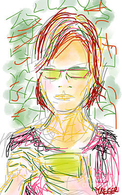 Woman With Cell Phone II Poster by Robert Yaeger