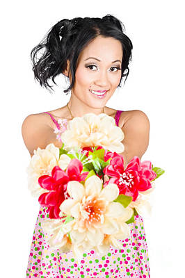 Woman With Flower Arrangement. Valentines Day Gift Poster