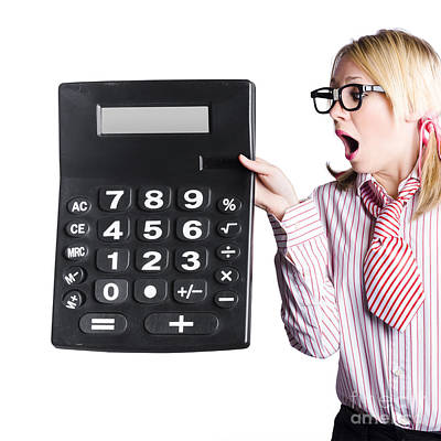 Woman With Large Calculator Poster by Jorgo Photography - Wall Art Gallery