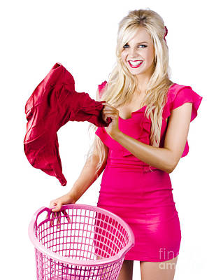 Woman With Laundry Basket Poster by Jorgo Photography - Wall Art Gallery