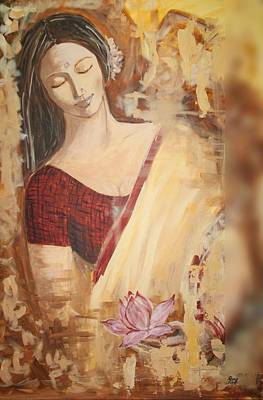 Woman With Lotus Poster by Rana