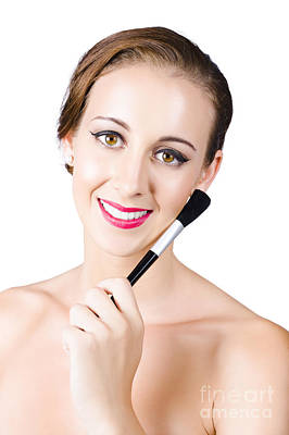 Woman With Makeup Brush Poster