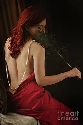 Woman With Peacock Feather Poster