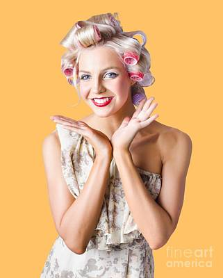 Woman With Rollers In Hair Poster by Jorgo Photography - Wall Art Gallery