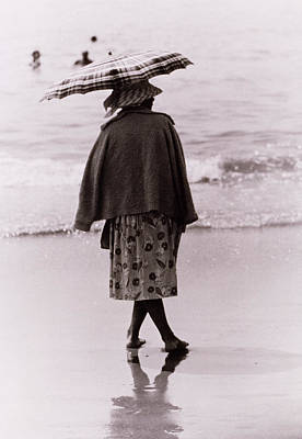 Woman With Sun Umbrella Poster by Nat Herz