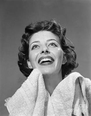 Woman With Towel Smiling, 1950s Poster