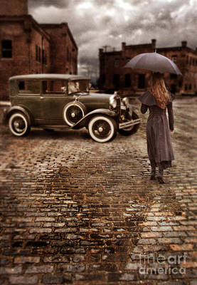 Woman With Umbrella By Vintage Car Poster