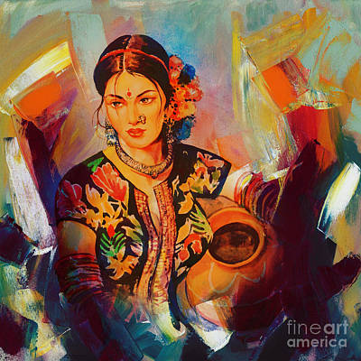 Woman With Water Pot Painting Poster