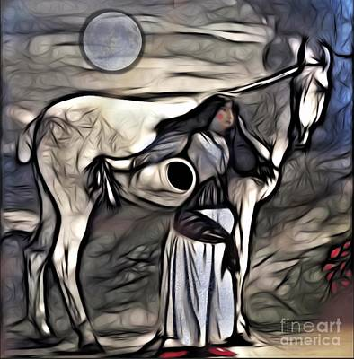 Poster featuring the digital art Woman With White Horse by Alexis Rotella