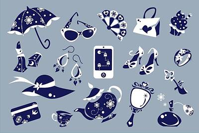 Women Accessories - Shoes Shopping Bag - Vector Icons Poster