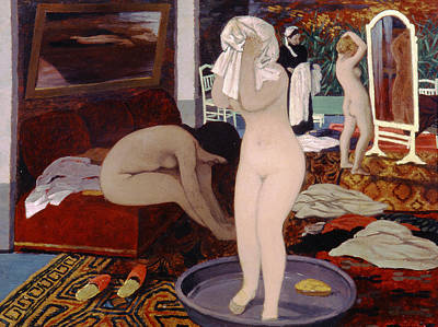Women At Their Toilet Poster by Felix Edouard Vallotton