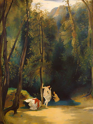 Women Bathing In The Park At Terni Poster