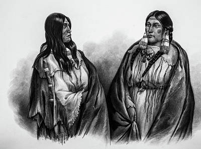 Women Of The Snake And Cree Tribes Poster by Douglas Barnett