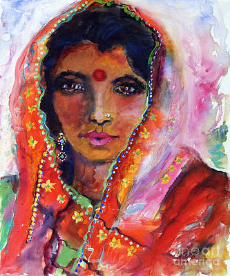 Women With Red Bindi By Ginette Poster