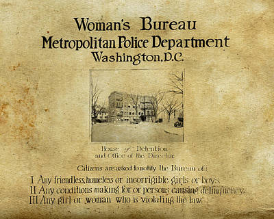 Women's Bureau House Of Detention Poster 1921 Poster by Tony Murphy