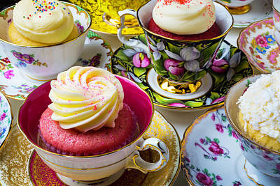 Wonderful Tea Cups With Cupcakes Poster by Garry Gay