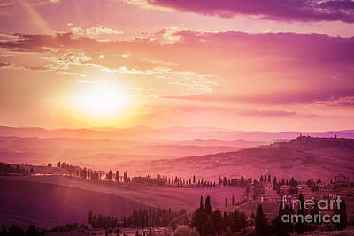 Wonderful Tuscany Landscape With Cypress Trees, Farms And Medieval Towns, Italy. Pink And Purple Sunset Poster