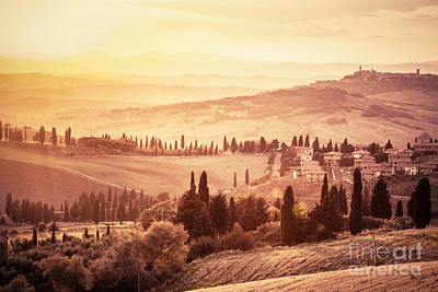 Wonderful Tuscany Landscape With Cypress Trees, Farms And Small Medieval Towns Poster