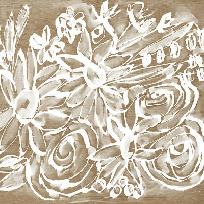 Wood And White Floral- Art By Linda Woods Poster