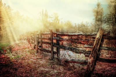 Wood Fences In The Fog Poster by Debra and Dave Vanderlaan