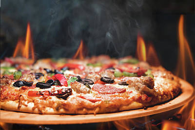 Wood Fired Pizza With Flames Poster