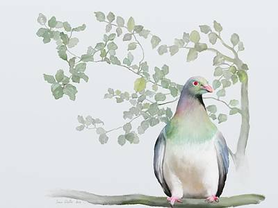 Poster featuring the painting Wood Pigeon by Ivana Westin
