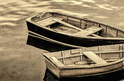 Wood Rowboats Sepia Distressed Poster