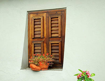 Poster featuring the photograph Wood Shuttered Window, Island Of Curacao by Kurt Van Wagner