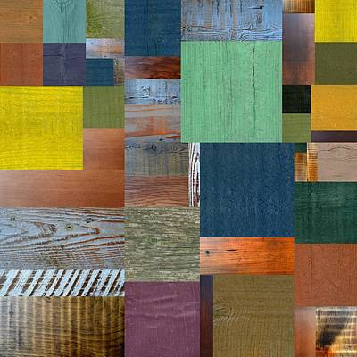 Wood With Teal And Yellow Poster by Michelle Calkins