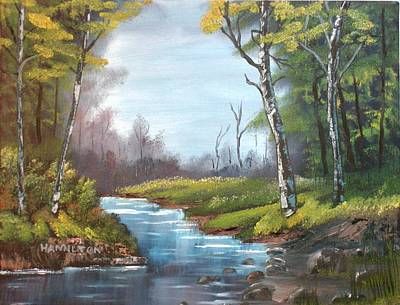 Wooded Stream Poster by Larry Hamilton