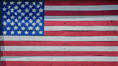 Poster featuring the photograph Wooden American Flag by Bill Cannon