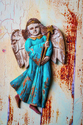 Wooden Angel On Old Wall Poster