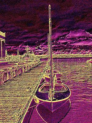 Wooden Boat Moorage Poster
