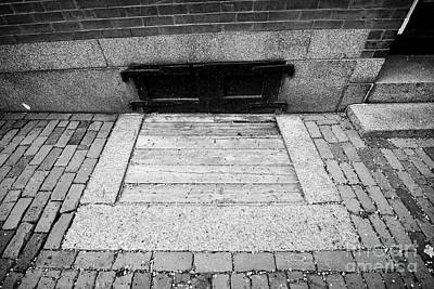 wooden covered basement access in sidewalk historic beacon hill Boston USA Poster