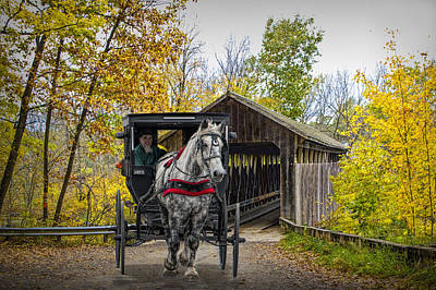 Wooden Covered Bridge And Amish Horse And Buggy In Autumn Poster by Randall Nyhof