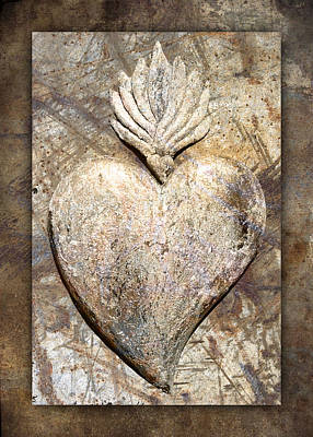 Wooden Heart Poster by Carol Leigh